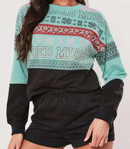 Black Fairilse Sweatshirt Loungewear Set - £8.80 @ Missguided (+£3.99 Postage)