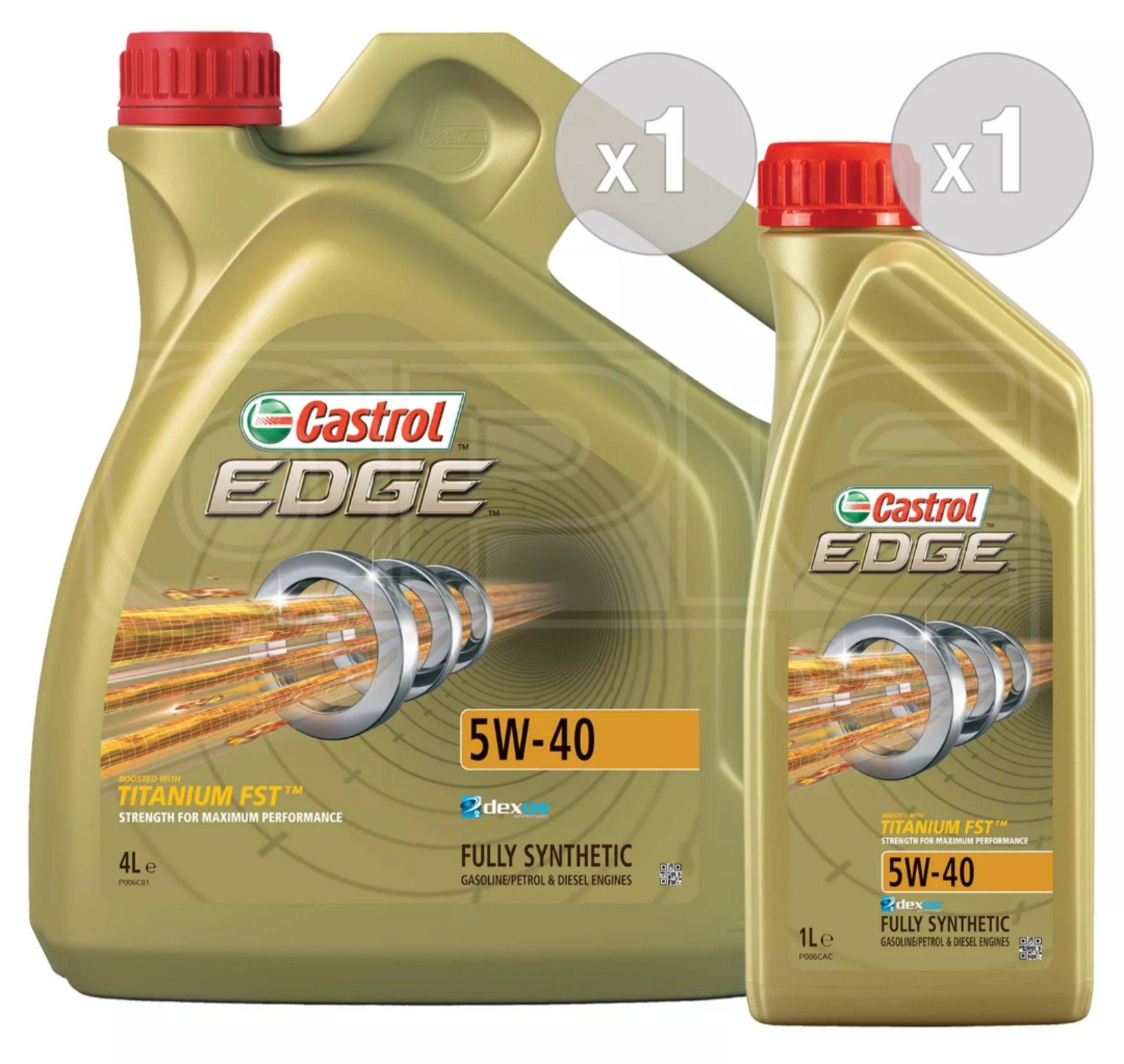 Castrol EDGE TITANIUM 5W-40 Synthetic Engine Oil 5W40 - 5 LITRES (4L + 1L) £36.86 Opie Oils on eBay