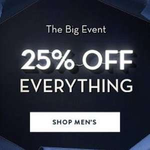 25% off EVERYTHING at Crew Clothing