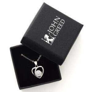 Aithre Silver Sparkling Open Heart Necklace (was £45) Now £9.99 + Free Delivery @ John Greed Jewellery