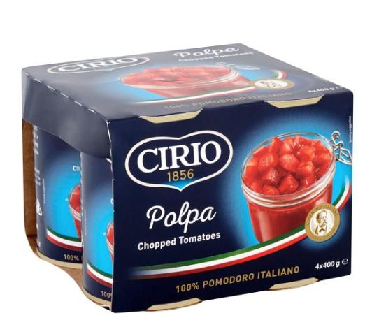 Cirio Chopped Tomatoes 4X400g £1.75 at Tesco