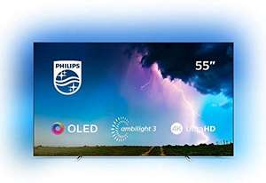 """Philips 55OLED754 (2019) OLED HDR 4K Ultra HD Smart Android TV, 55"""" with Freeview HD & Ambilight, Silver Free 6 Year Guarantee"""
