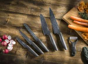 Tower Essentials Kitchen Knife Set, Stone-Coated with Stainless Steel Blades, Grey, 6-Pieces - £10 (Prime) / £14.49 (NP) delivered @ Amazon