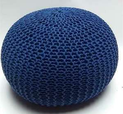 Millhouse Navy Blue Knitted Pouffe. Free Delivery. £15.99 @ ebay / oaklandsco