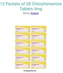 12 Packets of 28 (336 tablets in total) Chlorphenamine Tablets 4mg (Piriton Alernative) £5.20 at Pharmacyfirst.co.uk