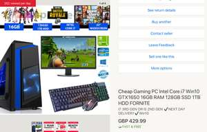 Gaming PC i7, WINDOWS 10, GTX 1650, 19inch Monitor, keyboard and mouse, WiFi dongle