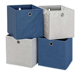 Home Set of 4 Squares Boxes - Blue & White / Grey & Peach / Grey & Green for £7 @ Argos