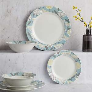 Dunelm Emmot Teal 12 Piece Dinner Set £14 - Free click and collect