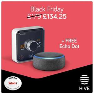 Hive Active Heating (With Hive Hub) + Echo dot 3rd Gen £134.25 @ Hivehome - without installation