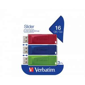 Verbatim Slider USB Drive 3 X 16GB pack £7.99 @ Ryman - (Free Click and Collect)
