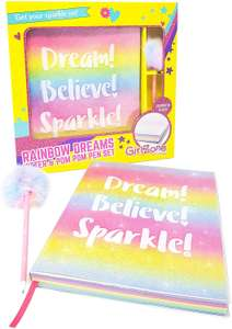 Glitter Rainbow Notebook and Pom Pom Pen Gift Set For Girls £6.99 sold by GirlZone and Fulfilled by Amazon Prime (+£4.49 non Prime)