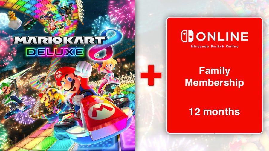 Mario Kart 8 Deluxe (Digital) + 12 Month Nintendo Switch Online Family Membership £49.85 Shopto