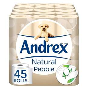 Andrex Natural Pebble Toilet Tissue - 45 Rolls - £20 / £11 (Subscribe + Save) @ Amazon