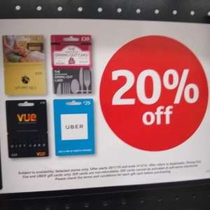 20% Off Vue £20, Dining Out £20, Uber £25, Spa Breaks £25 Gift Cards @ Sainsburys Instore