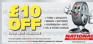 £10 off £50 spend at National Tyres and Autocare
