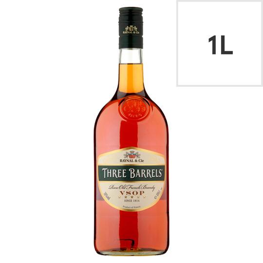 Three Barrels Brandy 1 litre £18 at Tesco