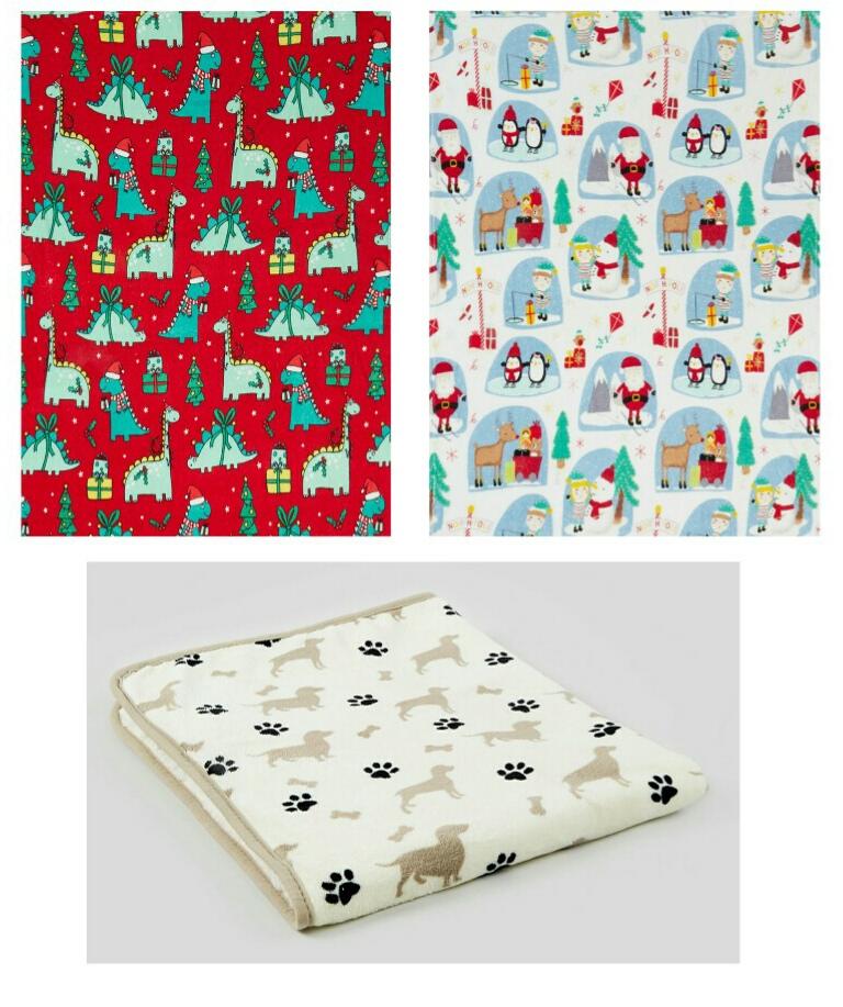 Fleece throws £4.20 @ Matalan (Free Click and Collect) Dinosaur, Christmas or Dog print