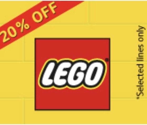 20% off selected lego lines at Hamleys.com
