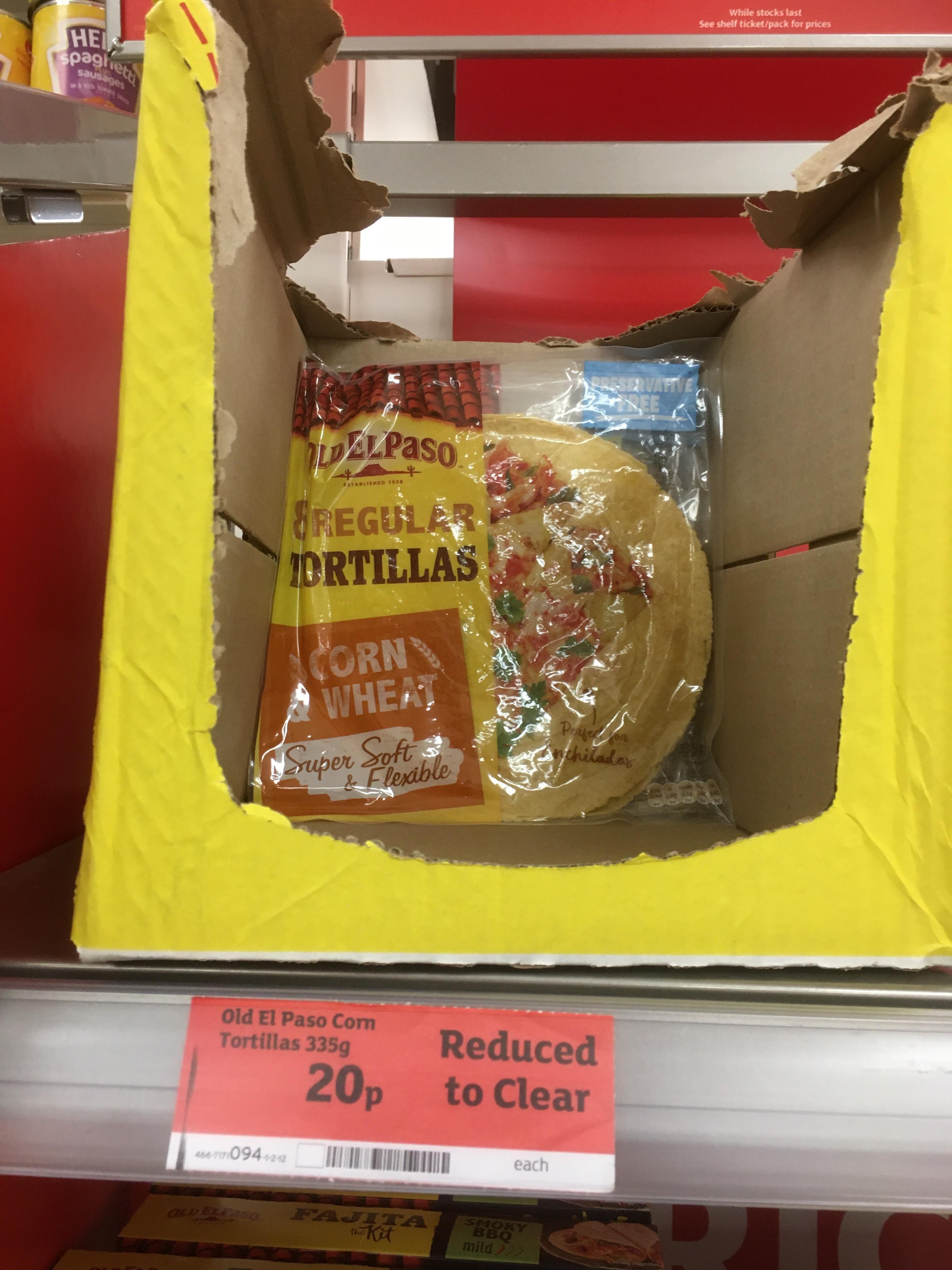 Old El Passo Corn Tortillas 20p @ Sainsbury's Oswestry Branch.