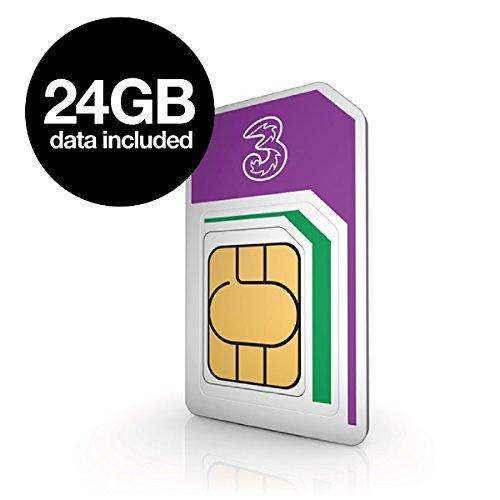Three Mobile Pay As You Go Mobile Broadband 24 GB Data SIM £32 @ Amazon
