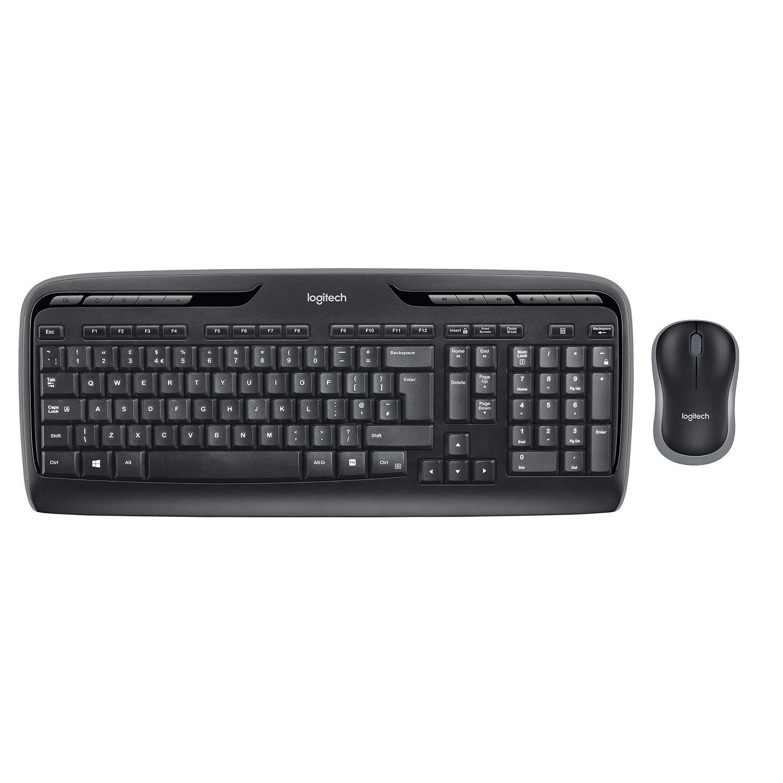 Logitech MK330 Wireless Combo Keyboard and Mouse, long life battery QWERTY UK Layout - Black £19.49 @ Amazon