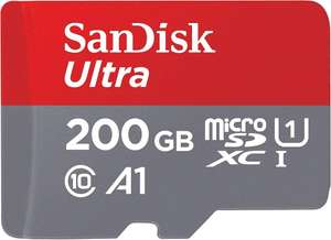 SanDisk Ultra 200GB microSDXC Memory Card + SD Adapter with A1 App Performance Up to 100 MB/s, at Amazon £18.99 Prime (£3.49 non Prime)