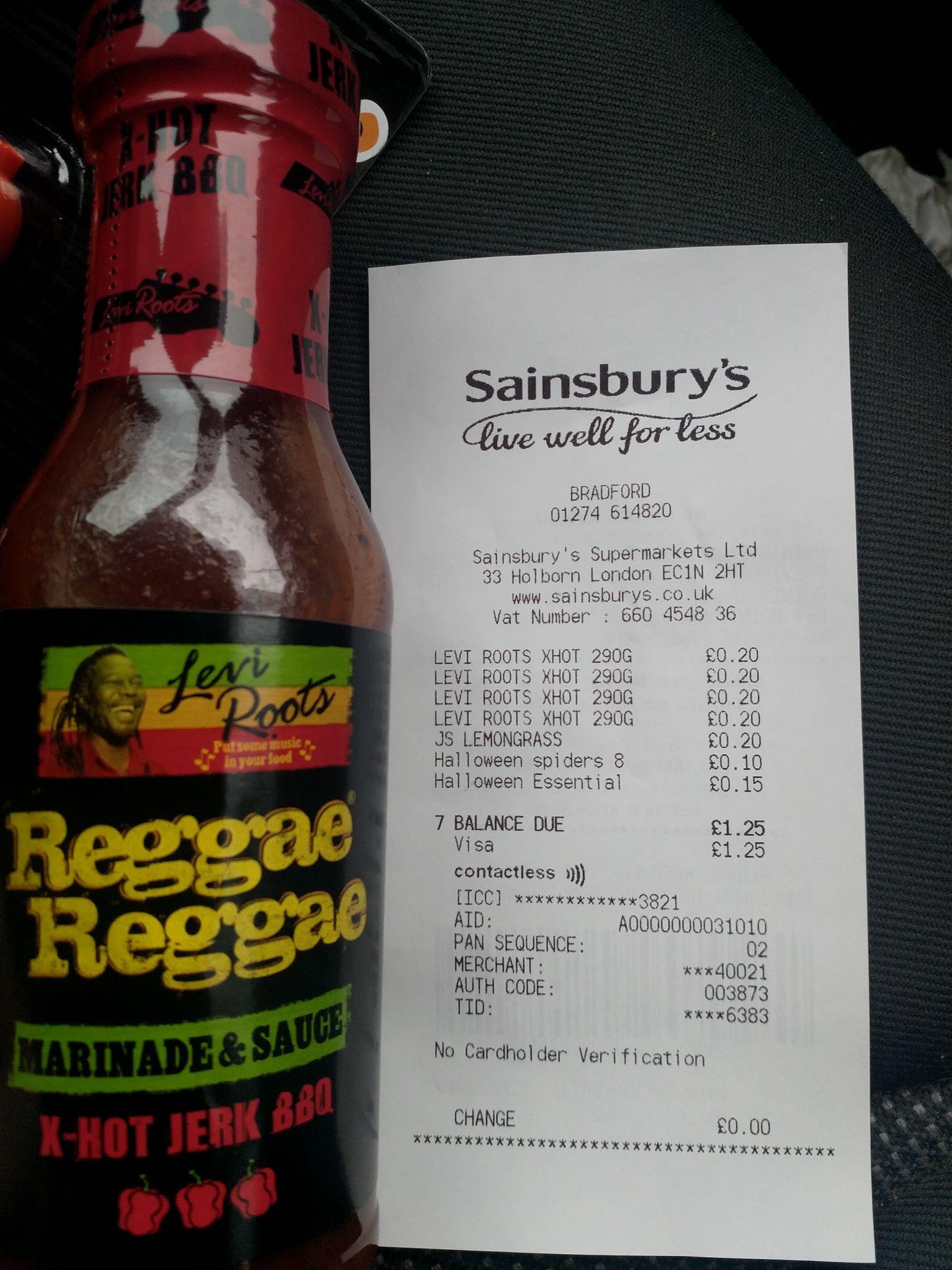 Levi Roots Reggae Reggae sauce X HOT 20p @ Sainsbury's