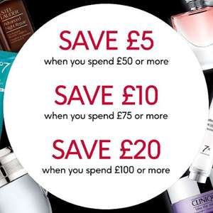 £5 Off £50 spend, £10 Off a £75 spend, £20 Off a £100 spend on selected Fragrance, and No7 @ Boots