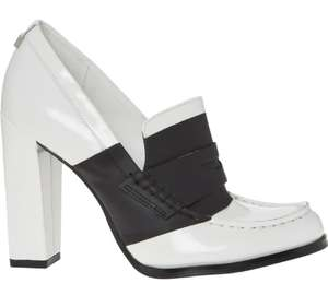 CALVIN KLEIN White Leather Antonia Heels £24.99 +£1.99 click and collect @ Tk Maxx