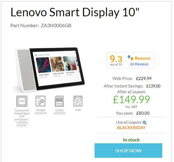 """LENOVO Smart Display 10"""" £149.99 at Lenovo UK"""