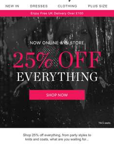 25% Off Everything Phase Eight Black Friday offer