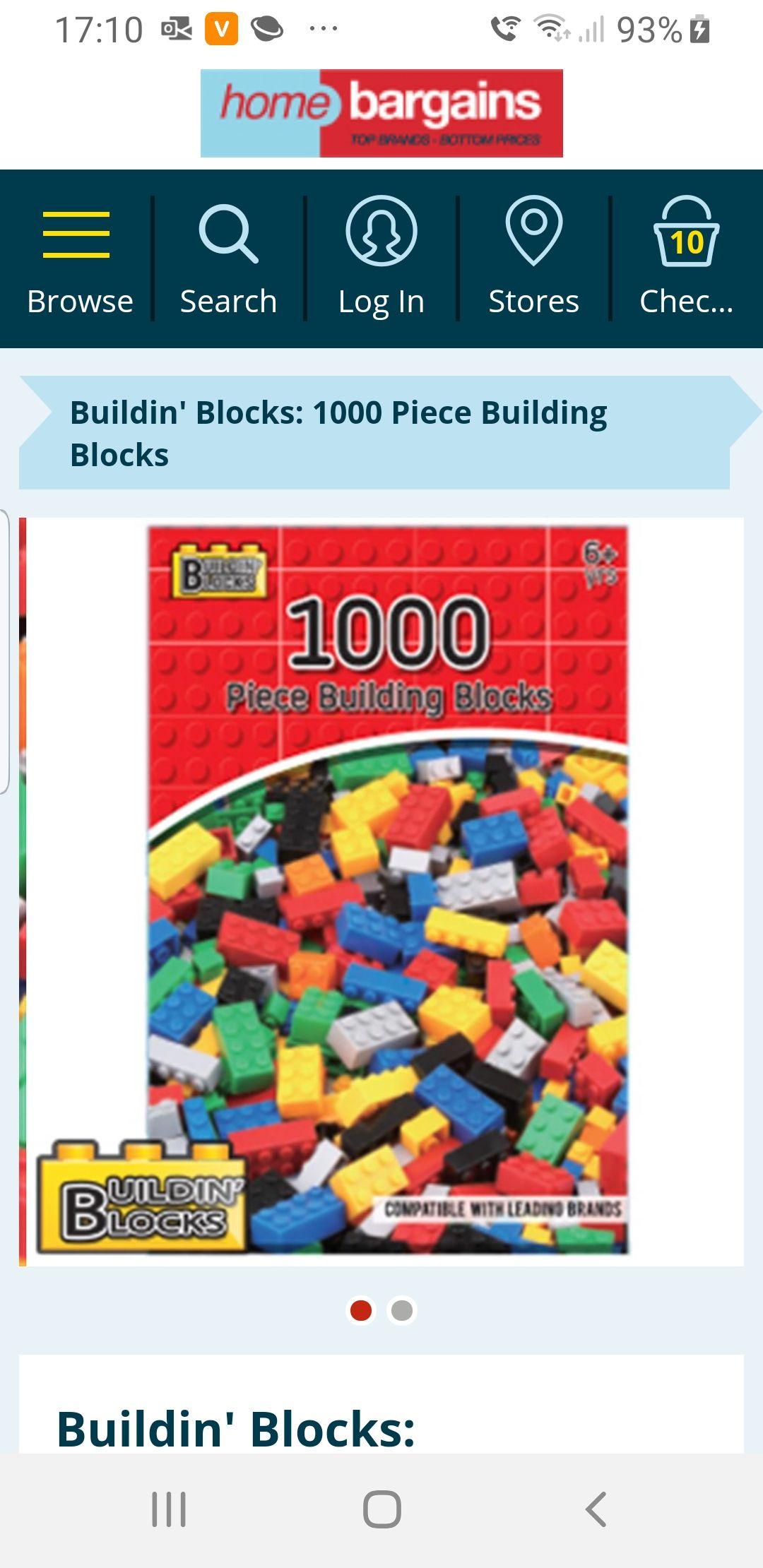 Buildin' Blocks: 1000 Piece Building Blocks £9.99 (+£3.49 delivery) @ Home Bargains