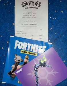 "Buy Fortnite stickers for 85p or any other Fortnite item and get the ""Minty Pickaxe"" FREE at SMYTHS! 1 per customer! in store"