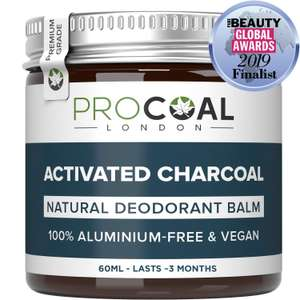 Natural Deodorant with Activated Charcoal by PROCOAL £5.09 lightning deal Sold by Procoal and Fulfilled by Amazon