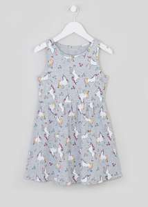 Girls Grey Sleeveless Unicorn Print Dress (4-13yrs)
