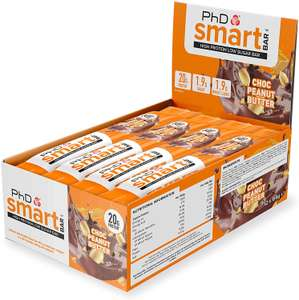 PhD Smart Bar High Protein Low Carb Bar Chocolate Peanut Butter, 64 g, Pack of 12 - £12 Prime / +£4.49 non Prime @ Amazon