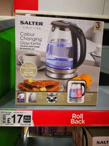 Salter Color changing Glass kettle £17 at ASDA Maidstone