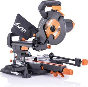 Evolution Power Tools R210SMS+ Sliding Mitre Saw With Multi-Material Cutting, 45° Bevel, 50° Mitre, 230mm Slide £105.99 @ Amazon