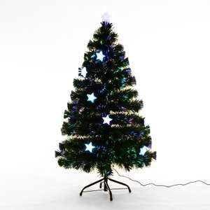HOMCOM 3ft 4ft 5ft Green Fibre Optic Artificial Christmas Indoor Xmas Tree Multi colour LED Stars (5ft (150cm)) £28.90 @ MHSTAR Amazon