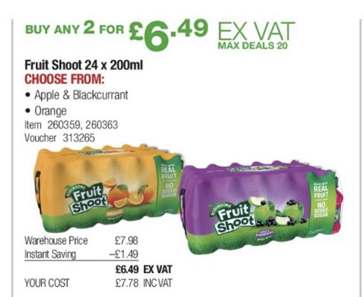Fruit Shoot Orange and Apple & Blackcurrent 48 Bottles £7.78 Costco (16p per bottle)