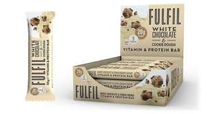Fulfil White Chocolate & Cookie Dough Protein Vitamin Bar 55g - Case of 15 bars Multisave £15.25 delivered @ Food Circle