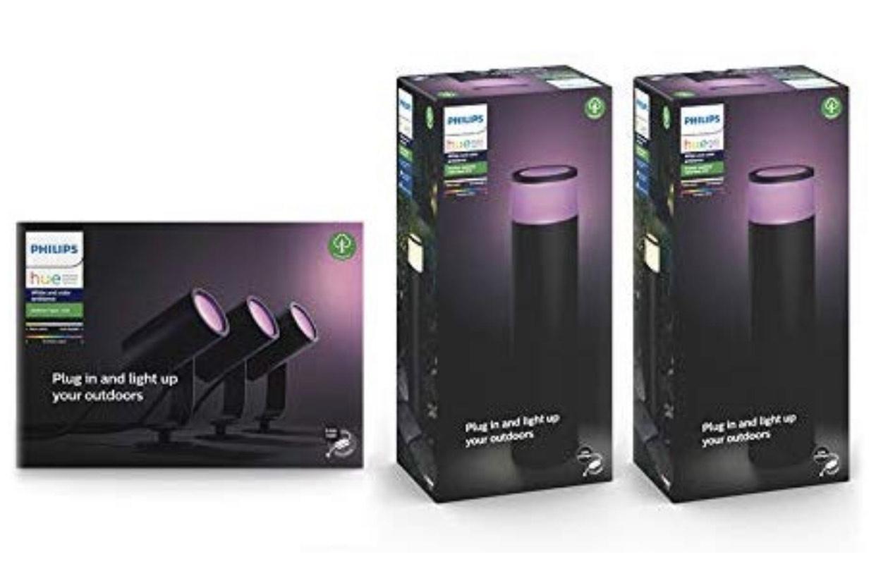 Philips Hue Lily White and Colour Ambiance LED 3x Spotlight Base Unit + 2x Philips Hue Calla Extension Pedestal Bundle @ Amazon £299.99