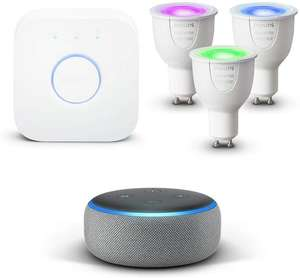 Echo Dot (3rd Gen), Sandstone Fabric + Philips Hue White and Colour Ambiance LED GU10 Starter Kit at Amazon for £119.98