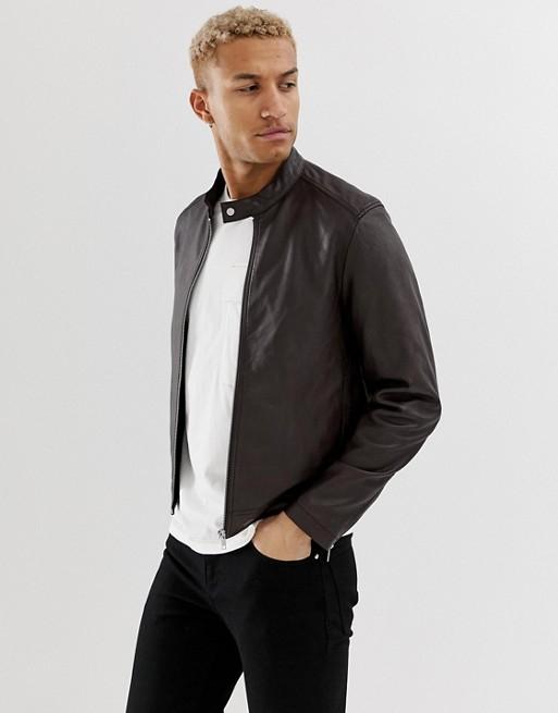 ASOS DESIGN Leather Racing Biker Jacket in brown £64