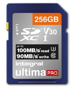 Integral 256Gb SD Card 4K Ultra-HD Video Premium High Speed Memory Card SDXC Up To 100MB/S V30 UHS-I U3 C10 for £22.39 Delivered @ Amazon UK