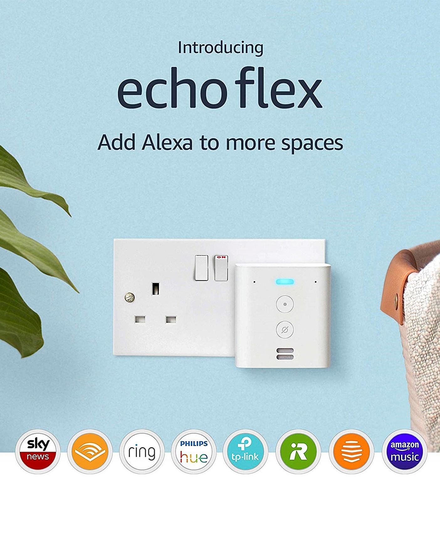 Amazon Echo Flex | Plug-in mini smart speaker with Alexa £19.99 (Prime) / £24.98 (non Prime) at Amazon