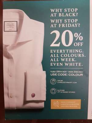 20% off everything at Charles Tyrwhitt with code COLOUR (starts tomorrow)