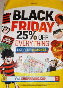 EXTENDED: Beano Black Friday - 25% off EVERYTHING with code BLACK25 @ Beano Shop (excludes subscriptions)