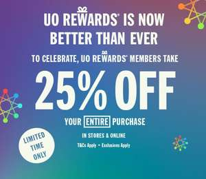 25% off in stores & online when you sign up to be a Member @ Urban Outfitters (Members only Discount )
