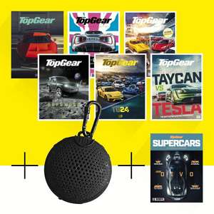 6 issues of TopGear magazine, Boompods aquablaster Speakers + Top Gear Supercars Special Edition £18.50 @ Buysubscriptions